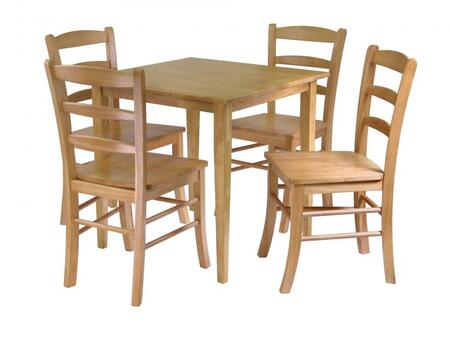 Winsome 34X30 Groveland Dining Table with Chairs in Light Oak Finish