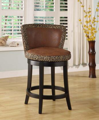 Armen Living LCMBS11SWMFAPX Lisbon Swivel Barstool with Espresso Wood Frame and Leopard Print Fabric Cover Upholstery