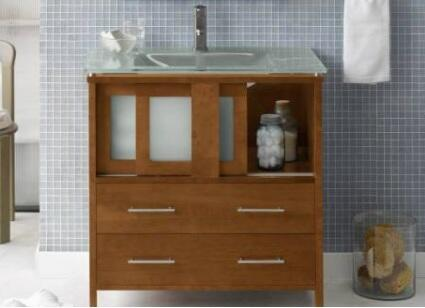 """Ronbow 035823- Minerva 23"""" Wood Vanity Cabinet with 2 Frost Glass Doors and 2 Bottom Drawers:"""