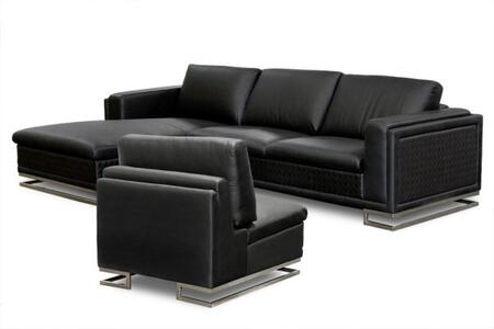 Diamond Sofa BLVDLFSECT3PCB Contemporary Bonded Leather Living Room Set