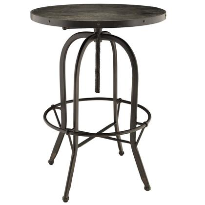Modway EEI-1200 Sylvan Wood Top Bar Table with Industrial Modern Design, Solid Pine Wood Top, Cast Iron Frame, and Foot Ring