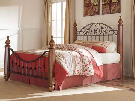 Signature Design by Ashley Wyatt Collection B429-POSTERBED Traditional Style Size Poster Bed: Medium Brown Cherry Stain