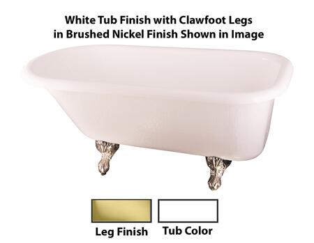 White Tub Finish with Clawfoot Legs in Brushed Nickel Finish