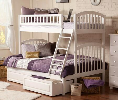 Atlantic Furniture Richland AB6422 Twin Over Full Bunk Bed With Raised Panel Bed Drawers