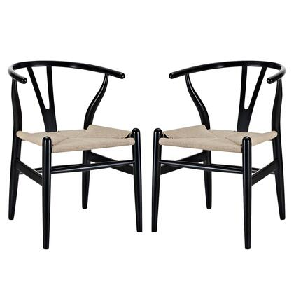Modway EEI-1319 Amish Dining Armchair Set of 2 with Modern Design, Durable Paper Rope Seat, and Sturdy Beech Wood Frame Construction