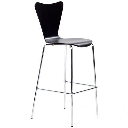 "Modway EEI-538 Ernie 31"" Bar Stool with Solid Plywood Seat, Curved Seat and Back, and Chrome Legs with Foot Rest"