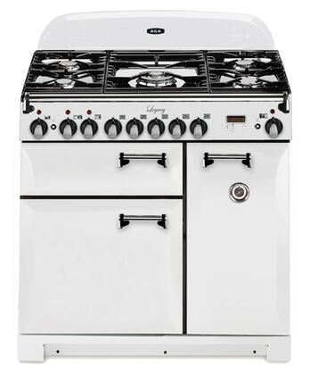 """AGA ALEG36DFSDVWH 36"""" Legacy Series Dual Fuel Freestanding Range with 5 Sealed Burner Cooktop 2.2 cu. ft. Primary Oven Capacity 