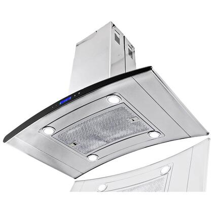 "AKDY AIR1336 36"" Island Mount Range Hood with 870 CFM, 65 dB, Innovative Touch, LED Display, 3 Fan Speed, Delayed Auto Shut Off, Aluminum Grease Filter and X: Stainless Steel"