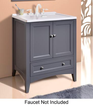 """Stufurhome Manhattan GM-Y01X 30"""" Laundry Utility Sink Vanity with Basin Cover, Soft Closing Brushed Nickel Hardware, One Drawer and Two Doors in"""