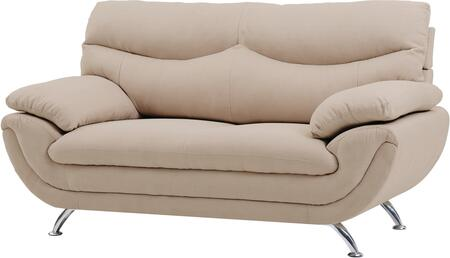"Glory Furniture 67"" Loveseat with Chrome Legs, Padded Arms, Medium Firm Seating and Fabric Upholstery in"