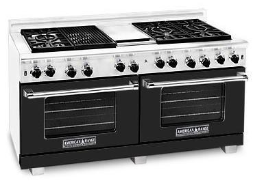 American Range ARR6062GDBK Heritage Classic Series Natural Gas Freestanding Range with Sealed Burner Cooktop, 4.8 cu. ft. Primary Oven Capacity, in Black