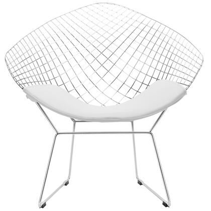 """EdgeMod Morph Collection 33"""" Lounge Chair with Plastic Non-Marking Feet, Solid Chrome Steel Frame and Leatherette Seat Pad in"""