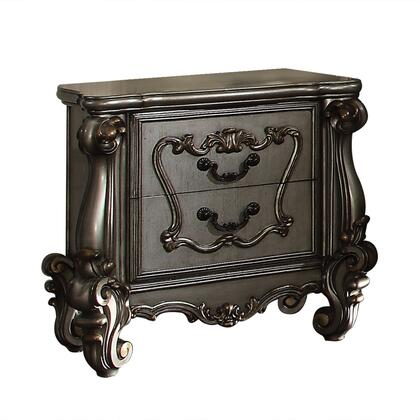 """Acme Furniture Versailles Collection 35"""" Nightstand with 2 Drawers, Raised Scrolled Trim, Scrolled Legs, Poplar and Aspen Wood Construction"""