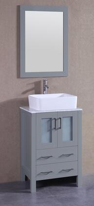 "Bosconi AGR124RCCMX XX"" Single Vanity with Carrara Marble Top, Rectangle White Ceramic Vessel Sink, F-S02 Faucet, Mirror, 2 Doors and X Drawers in Grey"