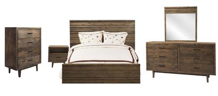 Picture of GN71K5PC Glendale 5 PC Bedroom Set with King Size Bed + Dresser + Mirror + Chest + Nightstand in Aged Whiskey