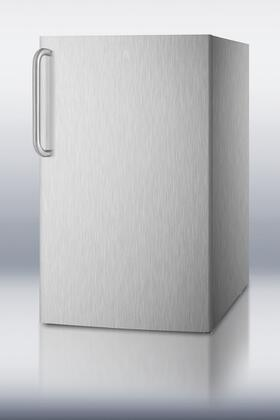 "Summit CM421BLXCSSX 20"" Top Freezer Compact Refrigerator with 4.1 cu. ft. Capacity, Professional Towel Bar Handle, Manual Defrost and Adjustable Thermostat in Stainless Steel"