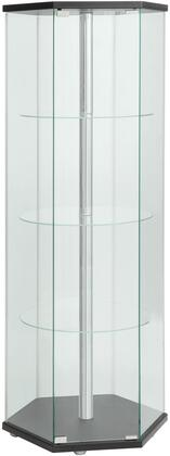"""Coaster Accent Cabinets 24"""" Curio Cabinet with 3 Round Glass Shelves, Center Metal Pole, Glass Panels and Hexagon Shape in"""