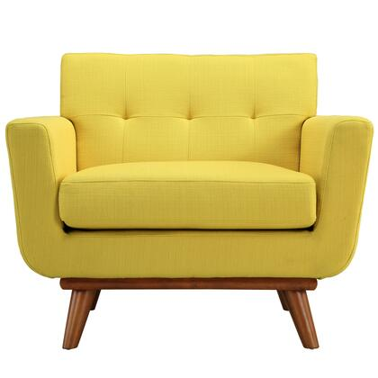 Modway EEI1178SUN Engage Series Fabric Armchair with Wood Frame in Yellow