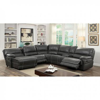"""Furniture of America Estrella Collection CM6131XX-SECTIONAL 134"""" Reclining Sectional with Left Arm Facing Chaise, 2x Armless Recliner, Corner Wedge, Storage Console and Right Arm Facing Recliner in"""