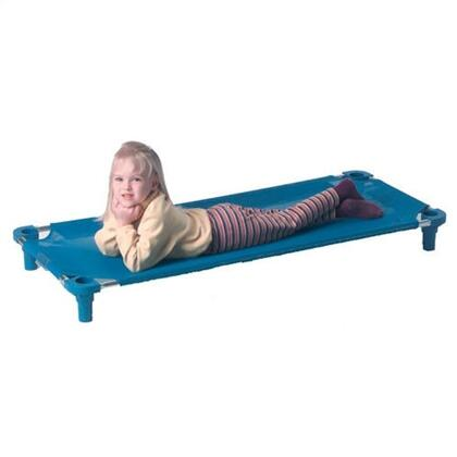 """Mahar 550T 40"""" Blue Fabric Unassembled Cot With Color Leg (Toddler Size)"""