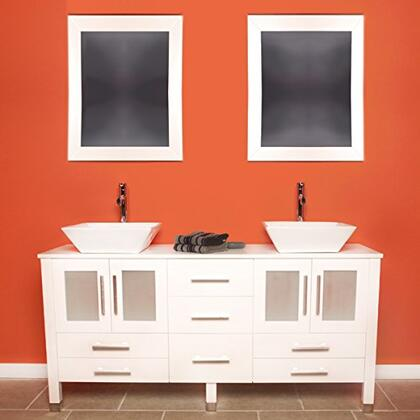 "Cambridge 8119WX 63"" Solid White Wood Vanity with Frosted Glass Counter Top and 2 Matching Vessel sinks. Included: 2 Long-Stemmed Faucets"