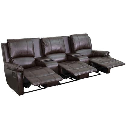 Flash Furniture BT702953GG Leather Pillowtop 3-Seat Home Theater Recliner with Storage Consoles