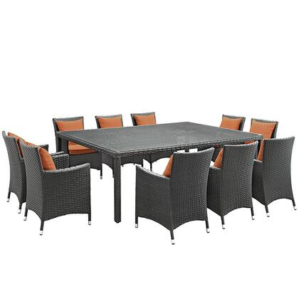 Modway Sojourn Collection EEI-2311-CHC- 11-Piece Outdoor Patio Sunbrella Dining Set with Dining Table and 10 Armchairs in