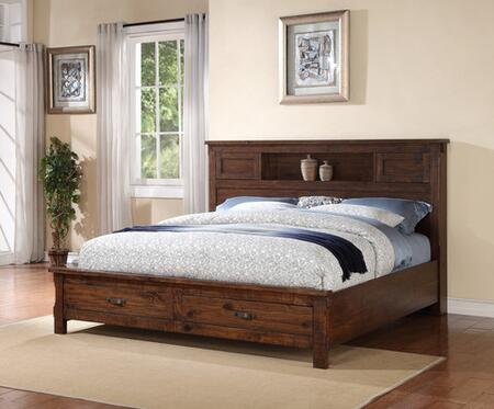 Legends Furniture ZRST700 Restoration Storage Bed with 2 Drawers, Designed in U.S.A., Premium Selected Hardwood and Veneers in Rustic Walnut