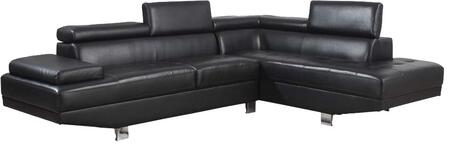 Acme Furniture 5196 Connor Sectional with Left Facing Sofa, Right Facing Chaise, Adjustable Headrest, PU Leather Upholstery, Tight Back and Seat Cushions in