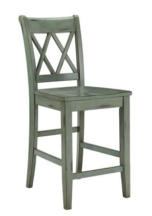 Milo Italia DR-348BS High Barstool with Rubbed on Paint Look, Tapered Legs and X-Shapes on Chair Back in Blue Green Finish