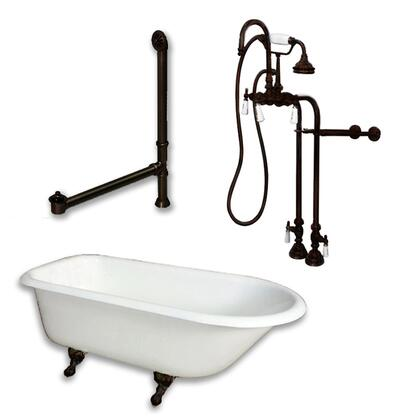 "Cambridge RR61398684PKG Cast Iron Rolled Rim Clawfoot Tub 61"" x 30"" with no Faucet Drillings and Complete Free Standing English Telephone Style Faucet with Hand Held Shower Assembly Plumbing Package"