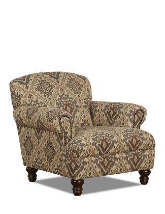 """Klaussner Barnum Collection 2410-C- 38"""" Chair with Nail Head Trim, Rolled Arms, Turned Legs and Polyester Fabric Upholstery in"""