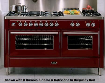 Ilve UMT150FMPB Majestic Techno Series Dual Fuel Freestanding Range with Sealed Burner Cooktop, 3.55 cu. ft. Primary Oven Capacity, Warming in True White
