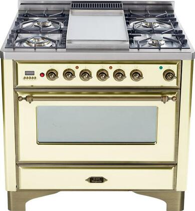"""Ilve UM90FMPAY 36"""" Majestic Series Dual Fuel Freestanding Range with 5 Sealed Burner Cooktop Warming 2.8 cu. ft. Primary Oven Capacity 