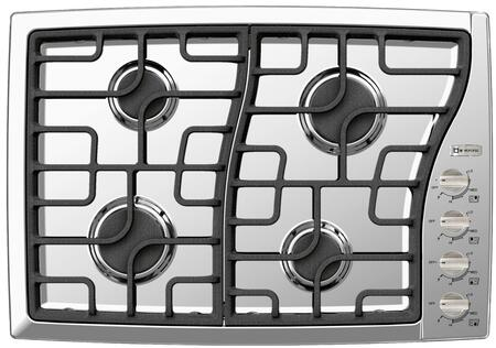 """Verona VECTGMS3XXSS XX"""" Side Control Gas Cooktop With X Sealed Burners, X BTU Power Burner, Continuous Cast Iron Grates, Cast-Iron  Burner Caps and Stainless Steel Control Knobs in Stainless Steel"""
