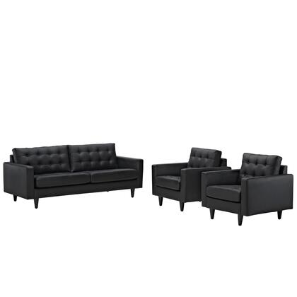 Modway EEI-1312 Empress Three Piece Set with Sofa + Two Armchairs, Modern Design, Glides, Solid Wooden Legs and Deeply Tufted Bonded Leather