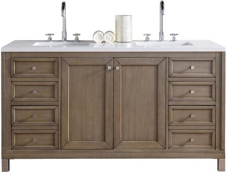 """James Martin Chicago Collection 305-V60D-WWW- 60"""" White Washed Walnut Double Vanity with Six Soft Close Drawers, Two Soft Close Doors, Satin Nickel Hardware and"""