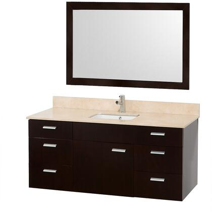 """Wyndham Collection WCS400052ES Encore 52"""" Modern Single Vanity, with 46"""" Mirror, Water Resistant Espresso Finish, Six Drawers, One Door, Porcelain Undermount Sink, and Stone Top"""