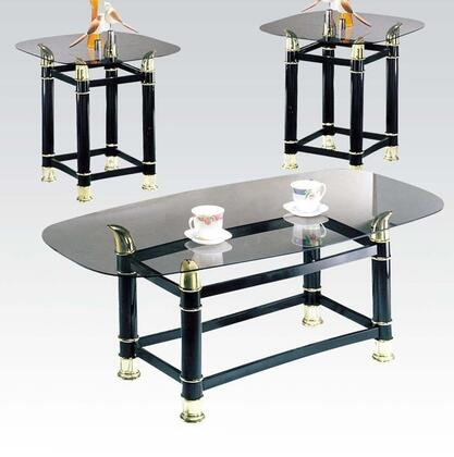 Picture of 02125 Greenfield 3 PC Clear Glass Top Table Set with 2 End Tables  Coffee Table  Polished Brass Accents  Turned Legs and Stretchers in Black