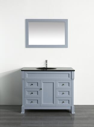 "Bosconi Bosconi 43"" SB-278GRX Single Vanity with 1 Door, 6 Drawers, 1 Sink Included, Wall Mounted Mirror, Antique Bronze Hardware and Birch Solid Wood Frame in Grey Color"