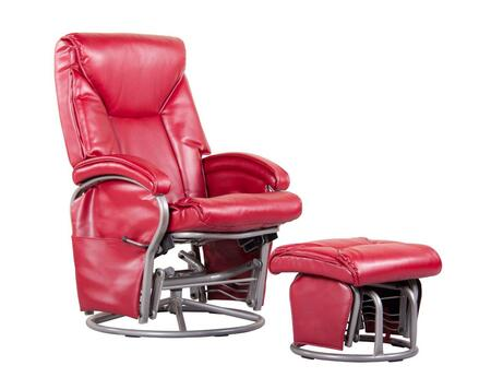 Dezmo D80096PG Push Back Recliner, Glider Rocker with Swivel, Brake and Handy Storage pockets. Includes FREE Ottoman, with Bonded Leather