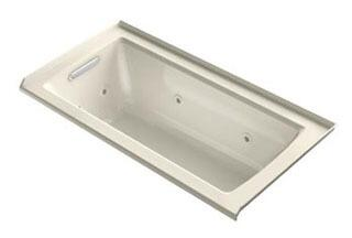 "Kohler K-1947-LH Archer 60"" x 30"" Three-Side Integral Flange Whirlpool Bath Tub with Heater and Left-Hand Drain"