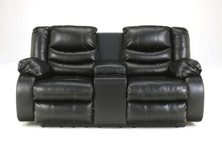 Signature Design by Ashley Linebacker DuraBlend 9520X94 Double Reclining Loveseat with Storage Console, Two Cup Holders, Pillow Top Arms and Divided Back Cushions in