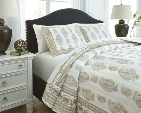 Signature Design by Ashley Almeda Q7260 3 PC King Size Coverlet Set includes 1 Coverlet and 2 Standard Shams with Voile Block Printing Channel Quilted Design and Cotton Material in Color