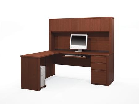 Bestar Furniture 99881 Prestige + L-shaped workstation including assembled pedestal