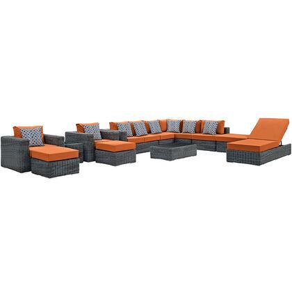 Modway Summon Collection EEI-2393- 12-Piece Outdoor Patio Sunbrella Sectional Set with 2 Left Arm Loveseat, 2 Armless Section, 2 Ottomans, Chaise Lounge, 2 Armchairs, 1 Square Ottoman, Side Tables and Coffee Table in