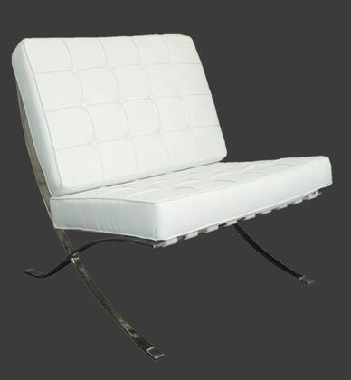 White Leather Chrome Accent Chairs.Grako Design S809