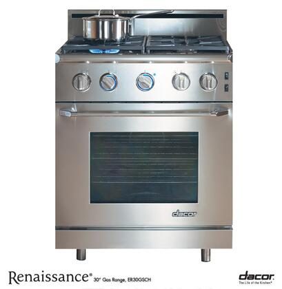 "Dacor ER30GISCHNGH 30"" Renaissance Series Slide-in Gas Range with Sealed Burner Cooktop 4.04 cu. ft. Primary Oven Capacity 18000 BTUs"