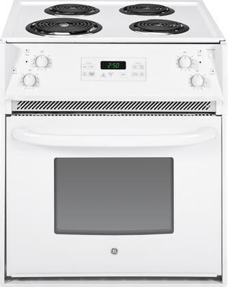 "GE JM250DFWW 27""  Drop-In Electric Range with Coil Element Cooktop, 3.0 cu. ft. Primary Oven Capacity, in White"