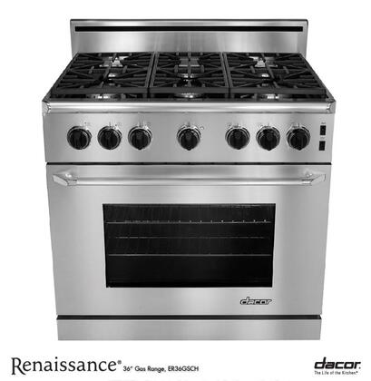 "Dacor Renaissance ER36GSCH 36"" Freestanding Range with High Altitude, 5.4 cu. ft. Convection Oven, 3 Racks, Interior Halogen Lighting and Star-K Certified: Stainless Steel with Chrome"